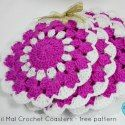 Nil Mal Crochet Coasters by Crochet for you via Saturday Link Party 9 on Rebeckah's Treasures