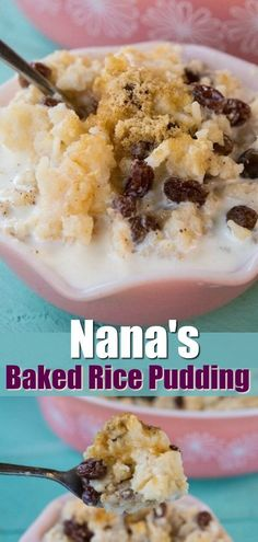Nana s Baked Rice Pudding recipe Oven baked and easy to make this is the best rice pudding recipe pudding rice ricepudding dessert oldfashioned baking cooking recipe raisins cinnamon milk sweet Rice Pudding Recipe Oven, Raisin Pudding Recipe, Rice Pudding With Raisins Recipe, Creamiest Rice Pudding Recipe, Easy Rice Pudding, Raisin Recipes, Classic Rice Pudding Recipe, Classic Recipe, Rice Custard
