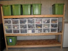 Stacked Pull Out Drawers. The use of pull out drawers, stacked is wonderful. Keep all storage off the floor in a garage or basement.