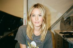 """kristingallegos: """" Camille Rowe backstage at the Desigual show. Makeup and photo by me. Shot on film on my Contax T2."""