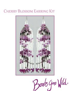 Cherry Blossom Earring KIT Rings N Things, Brick Stitch, Needle And Thread, Bead Weaving, Step By Step Instructions, Cherry Blossom, Seed Beads, Beaded Jewelry, Bloom