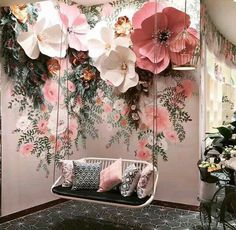 Flowers decorations wedding paper ideas wedding flowers is part of Flower decorations - Salon Interior Design, Salon Design, Spa Design, Cafe Design, Store Design, Flower Decorations, Wedding Decorations, Backdrop Wedding, 3d Flower Wall Decor