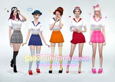 My Sims 4 Blog: Sailor Uniform Top & Skirt by Manueapinny