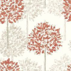 Boulevard Coral (417903) - Arthouse Wallpapers - A pretty dappled leaf all over tree design with a hand drawn style and metallic inks. Shown here in coral orange and beige on cream. Please request sample for true colour match. $24