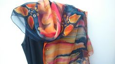 Hand Painted Transparent Chiffon Orange and Black Scarf for