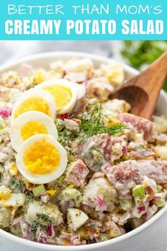The Best Creamy Potato Salad has to have the perfect balance of flavor. Not too much mayo, and a whole lot of other delicious flavors are necessary to create the ultimate potato salad recipe everyone will love. Creamy Potato Salad, Best Potato Salad Recipe, Potato Recipes, Summer Side Dishes, Best Side Dishes, Side Dish Recipes, Easy Recipes, Mayonnaise, Stay At Home Chef