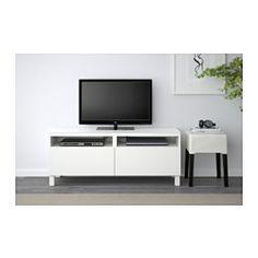 IKEA - BESTÅ, Móvel de TV c/gavetas, Lappviken branco, calha p/gaveta, abert pressão,