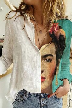 Spring Fashion Casual, Boho Fashion, Printed Cotton, Printed Shirts, Colour Blocking Fashion, Marilyn Monroe And Audrey Hepburn, Character Portraits, Newspaper Printing, Types Of Sleeves