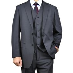 9a0f5e6cc Shop for Men's Black Vested Suit. Get free delivery at Overstock - Your  Online Men's Clothing Shop!