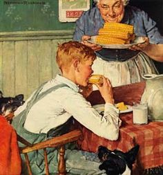 This  was claimed to be a Rockwell. Two things: The artist's name has been cropped off and the style is also similar to Sundblom and several other artists of that era. So, with that being said, just a cool pic w/ artist unknown.
