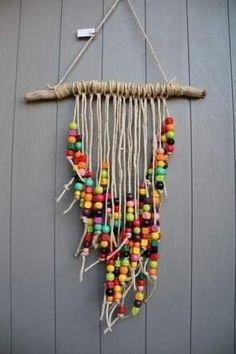 Colorful mobile with very colorful wooden beads driftwood and rustic .- Buntes Mobile mit sehr bunten Holzperlen Treibholz und rustikaler Schnur Colorful mobile with very colorful wooden driftwood beads and a rustic cord - Summer Crafts, Fun Crafts, Diy And Crafts, Arts And Crafts, Colorful Crafts, Twine Crafts, Etsy Crafts, Bead Crafts, Mobile Craft