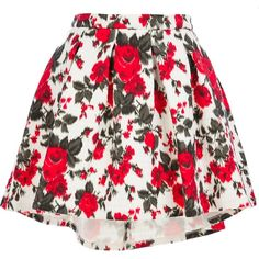 MSGM floral skirt ($329) ❤ liked on Polyvore featuring skirts, mini skirts, bottoms, saias, faldas, white mini skirt, flower print skirt, flared mini skirt, floral skirt and flare skirt