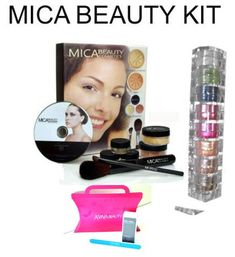 Mica Beauty Mineral Makeup Deluxe Kit Color Porcelain 8 Stack Eye Shadow Shimmer Ccolor Aviva Brown Eyes Aviva Nail Kit ** For more information, visit new makeup products link.