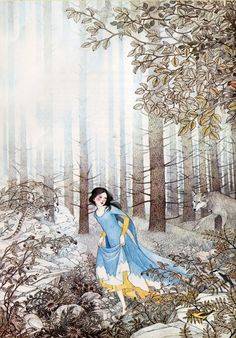 Snow White by Nancy Ekholm Burkert. I really love this piece. Something about the stalking pose of the wolf combined with Snow White's glance over her shoulder.