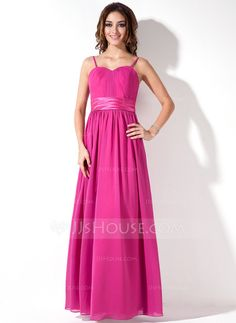 Empire Sweetheart Floor-Length Chiffon Charmeuse Bridesmaid Dress With Ruffle (007000933)