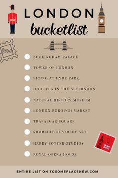 Looking for the best things to do in London? Read our London bucket list ideas with top attractions & unique London experiences that you must do. London Bucket List, Europe Bucket List, Natural History Museum London, London Dreams, List Challenges, Tower Of London, London Bridge, London Places, Things To Do In London