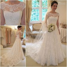 Wholesale A-Line Wedding Dresses - Buy New Arrival Glamorous Full High Quality Lace Appliqued Bateau Neck Cap Sleeves A-line Wedding Dresses Bridal Gowns, $123.75 | DHgate