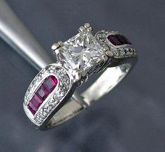 Custom Diamond / Ruby 18k White Gold Ring