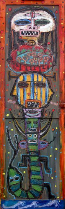 """in the style of basquiat - """"Desert Totem"""" by flea market artist Kelly Moore…. www.kellymoore.net"""