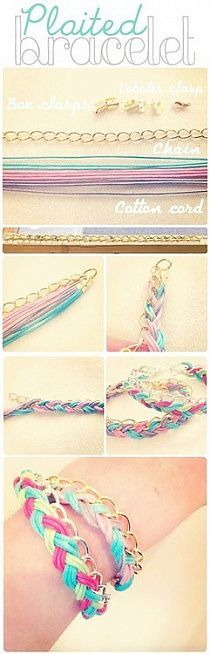 DIY Jewelry Tutorial - DIY Bracelet Tutorial. I'd be using Embroidery Thread, or Cotton Yarn, check the $$ store and Walmart for already made necklaces for the cheapest and best value on Chain :) to make this quick and cheap great gift for friends