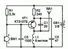 mini micro fm microphone transmitter circuit schematic