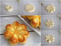 PEYNİRLİ ÇİÇEK POĞAÇA Note to self - not sure what this says - but the idea in the pic looks really easy. could use for savory or sweet. (herbed potatoes/cheese or sweetened cream cheese/fruit combos) ♥ Pastry Recipes, Bread Recipes, Cooking Recipes, Cooking Cake, Easy Cooking, Bread Shaping, Cheese Fruit, Cheese Bread, Bread And Pastries