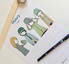 PRINTABLE  Calendrier illustré gratuit Calendrier mars 2018 à imprimer! Mars, Calendar, Objects, March