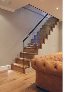 Tag Architects - Victorian Terraced Townhouse in Primrose Hill, North-West London, Simple, clean, functional. Staircase Railings, Banisters, Stairways, Banister Ideas, Cellar Conversion, Glass Stairs, Stair Lighting, Modern Stairs, Victorian Terrace