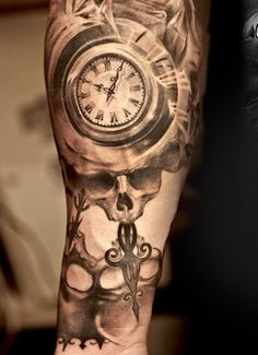Niki Norberg clock and skull tattoo design