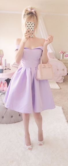 Purple Off the Shoulder Party Prom Dresses 2017 new style custom made fashion evening gowns Pastel Fashion, Kawaii Fashion, Cute Fashion, Look Fashion, Prom Dresses 2017, Prom Party Dresses, Girly Girl Outfits, Cute Outfits, Gym Outfits