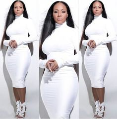 Erica Campbell and Meagan Good have been under fire for their fashion choices. But are critical Christians doing more harm than good? All White Outfit, White Outfits, White Dress, White Fashion, Girl Fashion, Fashion Outfits, Curvy Fashion, Fashion Ideas, Xl Mode
