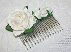 Wedding Flower Hair Comb  White Roses Hair by BeautyFullMall