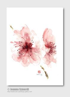 Cherry blossom wall decor unique floral clipart pink flower abstract art print of watercolor painting pink summer clip art wall decal This would make a pretty tattoo. Cherry Blossom Watercolor, Cherry Blossom Flowers, Watercolor Flowers, Watercolor Paintings, Japanese Tattoo Cherry Blossom, Cherry Blossom Drawing, Japanese Watercolor, Tattoo Watercolor, Watercolors