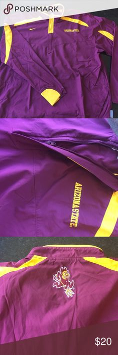 Nike ASU Sun Devil 1/2 Zip Nike ASU Sun Devil 1/2 Zip Pull Over. Windbreaker Material. There are some pen marks on the right wrists of the jacket shown in the last photo Nike Jackets & Coats Performance Jackets