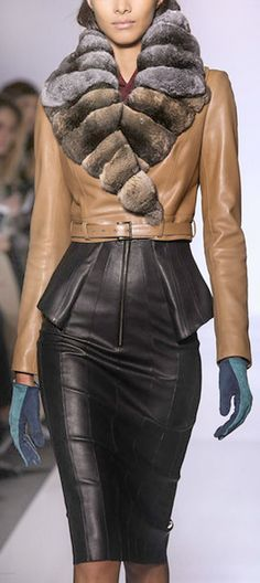 anbenna • Jean Claude Jitrois. this is really incredible. amazing fur collar with camel colored leather