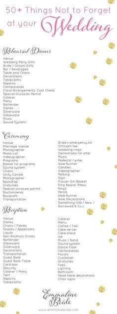 Wedding List | Click Wedding day check list for the printable ...