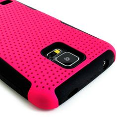 myLife (TM) Vibrant Bubblegum Pink and Charcoal Black - Perforated Mesh Series (2 Layer Neo Hybrid) Slim Armor Case for the NEW Galaxy S5 (5...