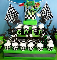 "Motorcycle/Dirt Bike Cupcake Stand perfect for any ""Racing"" Birthday theme. Nascar, Motorcross, Racecar, Monster Truck, etc."