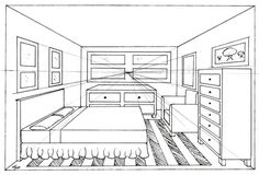 One Point Perspective Bedroom Drawing | CDxND.com - Home Design in ...