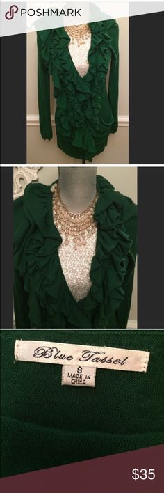 Anthropologie Long Green Ruffled Cardigan Sweater From Anthropologie. The Brand Is Called Blue Tassel. Gorgeous Long Green Ruffled Cardigan Sweater With Button Front. Size Small. Anthropologie Sweaters
