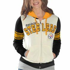 Pittsburgh Steelers Ladies Powerhouse Full Zip Hoodie - White/Black