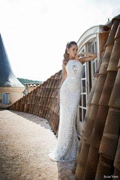 julie vino bridal 2015 fall winter provence nora halter neck sleeveless sheath wedding dress