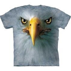 Realistic Eagle Tee Shirt is an amazing real life-like looking design that will blow away the on-looker of Eagles with ease. Wear with Eagle loving pride. American Eagle T Shirts, Eagle Shirts, 3d T Shirts, American Pride, Custom Shirts, Eagle Face, Big Face, Full Face, Oeko Tex 100