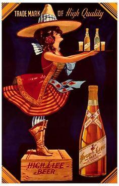 f4f7ca83a1efb Miller High Life Beer Ad Vintage Advertising Poster Vintage Advertisements