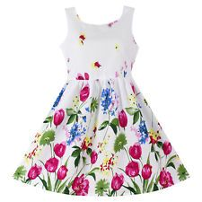 Girls Tulip Flower Print Sundress Party Birthday Casual Children Cloth Size 6T