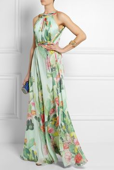 Absolutely love this Matthew Williamson Dress | Net-a-porter | http://www.net-a-porter.com/product/407854  #eveninggown #fashion #gown #summerwedding #floraldress #maxidress #matthewwilliamson #britishfashion #greendress