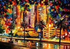 Tablo Palmiye Ağaçları ve Şehir  - mdr 9015