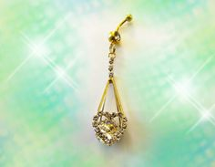 ♦♦SALE-Belly Ring, Large Gold Dangling Ocean Clear Crystal Heart, Fancy Belly Button Ring, Belly Button Jewelry For women or Teens  ============$40