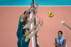 Action in the men's volleyball match between Australia and Argentina. Photo: Pat Scala.