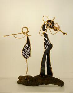 Duo flûte et alto - figurines en ficelle et papier : Accessoires de maison par ficelleetpapier